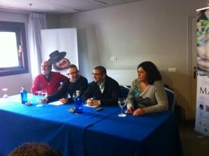 (I-D) Fernando Huidobro, presidente de la Academia Andaluza de Gastronomía; Pepe Ferrer, periodista; Dani García y Celia Jiménez, primera cocinera andaluza en conseguir una estrella Michelín.
